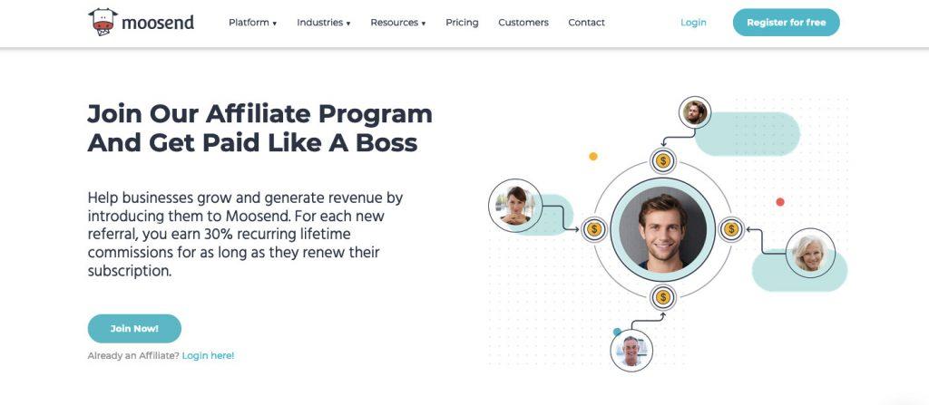 moosend email marketing affiliate program