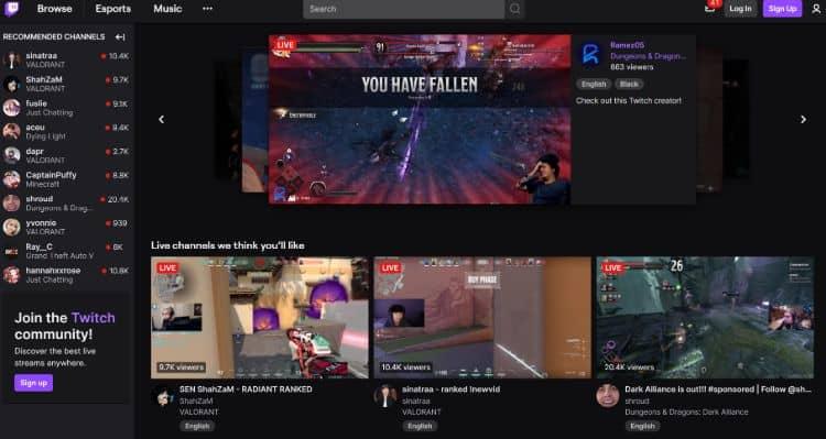 Twitch - best live streaming platform